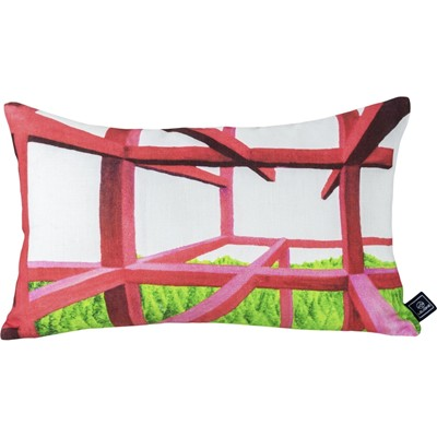 Oikodome Red Forest - Coussin en lin imprimé design - multicolore