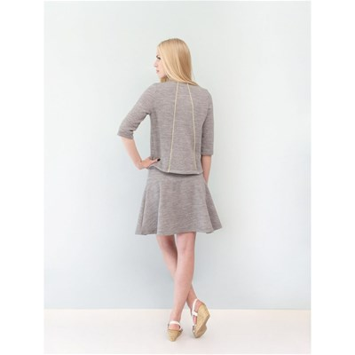 Sweat casual en molleton gris chiné LUCIA - gris