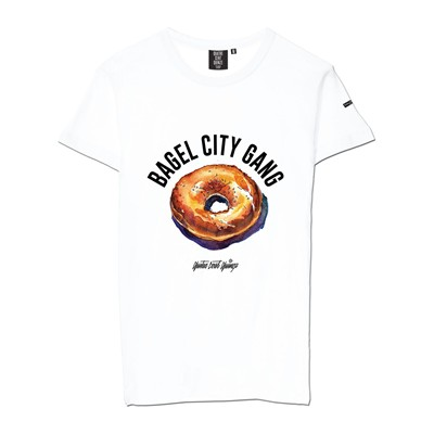 QUATRE CENT QUINZE Bagel City Gang - T-shirt - blanc