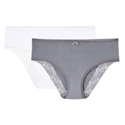 BESTFORM Quotidien & Dentelle - Lot de 2 slips - blanc/gris