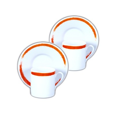 SITE COROT Artwork - 2 tasses café et soucoupes  Porcelaine de Limoges - orange