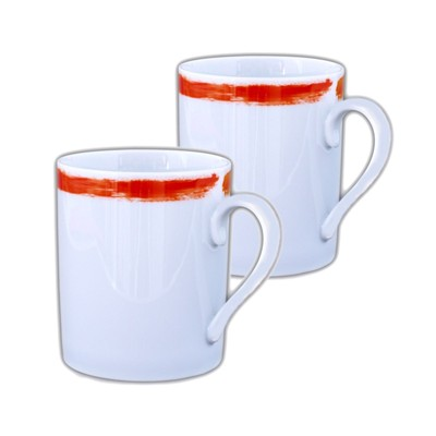 SITE COROT Artwork - 2 Mugs en Porcelaine de Limoges - orange