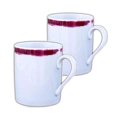 SITE COROT Artwork - 2 Mugs en Porcelaine de Limoges - prune