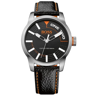 BOSS ORANGE Montre en cuir - noir