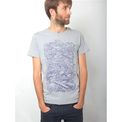 MONSIEUR POULET Passion Voitures - T-shirt - gris chine