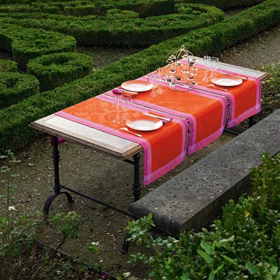 LE JACQUARD FRANÇAIS Jardin Royal Capucine - Chemin de table - rouge