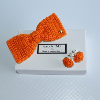 Charmeur - Noeud papillon boutons - orange