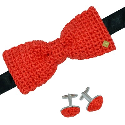 Couchant - Noeud papillon boutons de manchette - rouge