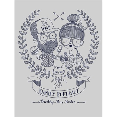 MONSIEUR POULET Hipster Family - T-shirt - gris chine