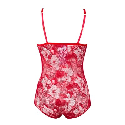 CROWN OF LOVE - Body en dentelle de Calais - rouge