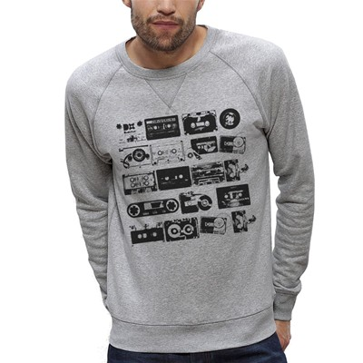 ARTECITA Cassettes Audio Vintage - Sweat-shirt - gris clair