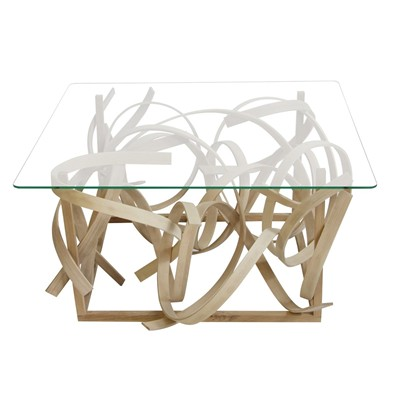 Mathilde - Table basse design en bois et plateau de verre - transparent