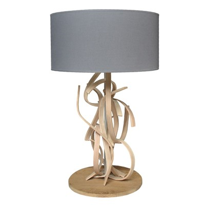 Emma - Lampe de table design en bois - Gris anthracite