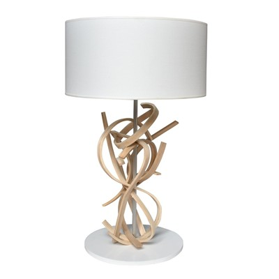 Emma - Lampe de table design en bois - blanc