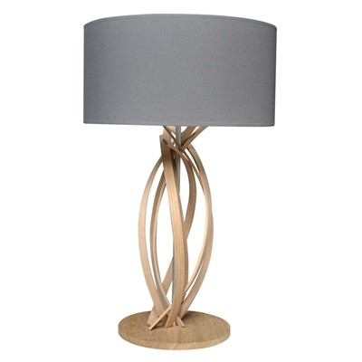 Julia - Lampe de table design en bois et abat jour - Gris anthracite