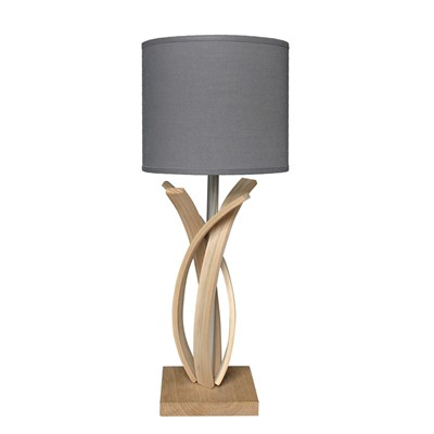 Alice - Lampe de table design en bois et abat jour - Gris anthracite