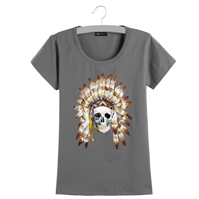 An Famille Skull plume - T-shirt manches courtes - blanc