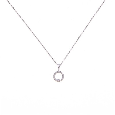 Atelier du diamant Rond de Diamants - Pendentif en Or blanc 375 avec diamants