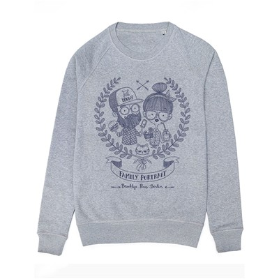 MONSIEUR POULET Hipster Family - Sweat-shirt - gris chine