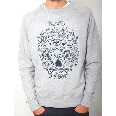 MONSIEUR POULET La vie est belle - Sweat-shirt - gris chine