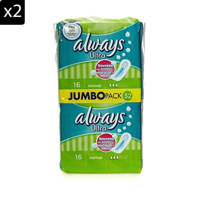 ALWAYS Lot de 2 packs Always ultra normal Actipearls - 32 serviettes