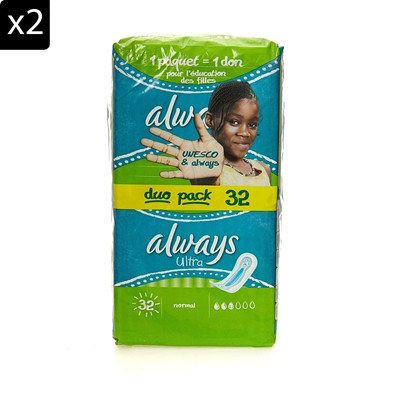 ALWAYS Lot de 2 packs Always ultra normal - 32 serviettes