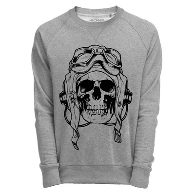 NO COMMENT PARIS Skull air force - Sweat - gris chine