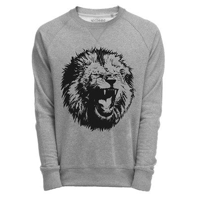 NO COMMENT PARIS lion graphic - Top - gris chine