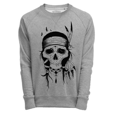 NO COMMENT PARIS indians skull - Sweats - gris chine
