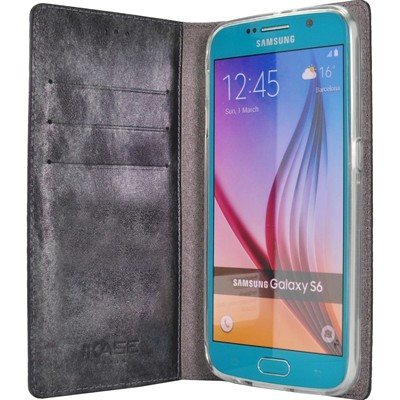 THE KASE Samsung Galaxy S6 - Coque clapet en cuir - noir