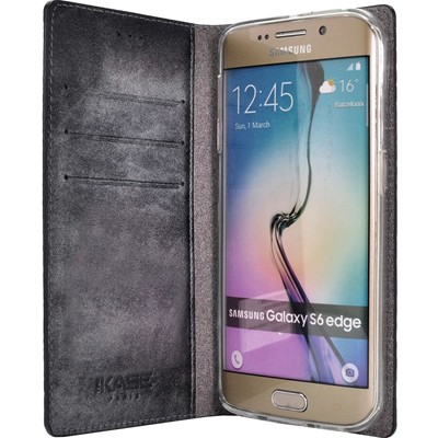 THE KASE Samsung Galaxy S6 Edge - Coque clapet en cuir - noir