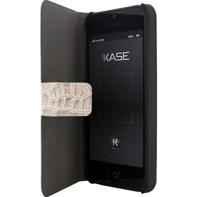 THE KASE iPhone 5/5S - Coque clapet en cuir - beige