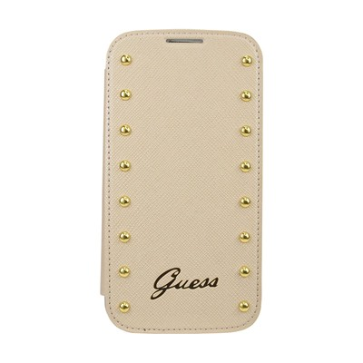 THE KASE Samsung Galaxy S4 - Coque clapet cloutée - beige