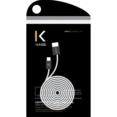 THE KASE iPhone 6/6 Plus/5S/5C/5/iPad Air/Air2/iPad Mini/Mini 2/Mini 3/iPad/iPod nano/iPod touch - Câble lightning plat - blanc