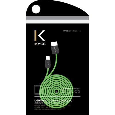 THE KASE iPhone 6/6 Plus/5S/5C/5/iPad Air/Air2/iPad Mini/Mini 2/Mini 3/iPad/iPod nano/iPod touch - Câble lightning plat - vert