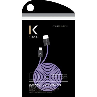 THE KASE iPhone 6/6 Plus/5S/5C/5/iPad Air/Air2/iPad Mini/Mini 2/Mini 3/iPad/iPod nano/iPod touch - Câble lightning plat - violet