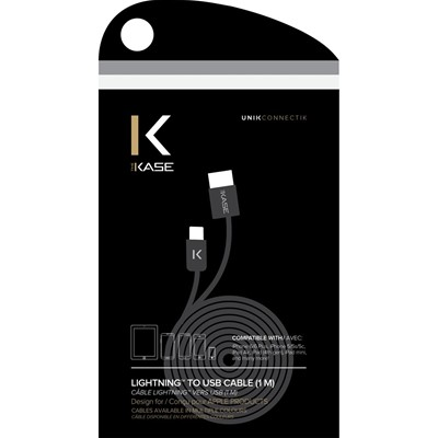 THE KASE iPhone 6/6 Plus/5S/5C/5/iPad Air/Air2/iPad Mini/Mini 2/Mini 3/iPad/iPod nano/iPod touch - Câble lightning plat - noir