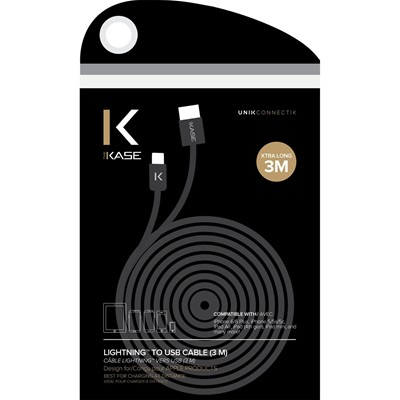 THE KASE iPhone 6/6 Plus/5S/5C/5/iPad Air/Air 2/iPad Mini/Mini 2/Mini 3/iPad/iPod nano/iPod touch - Câble plat - noir