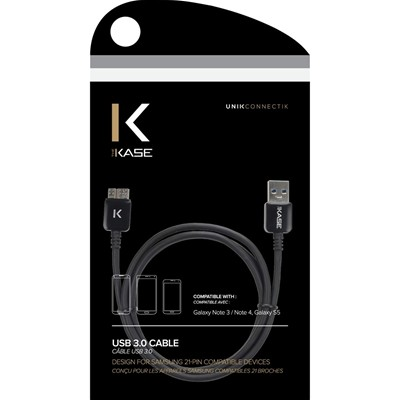 THE KASE Samsung Galaxy Note 3/S5 - Câble plat - noir