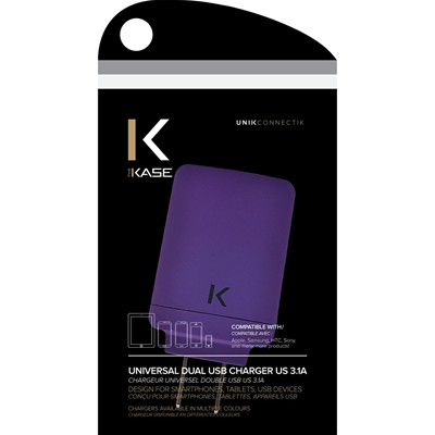 THE KASE iPhone 6 Plus/iPhone 6/iPad/smartphones/tablettes Android - Chargeur universel - violet