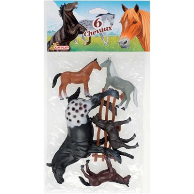 WDK PARTNER Lot de 6 chevaux luxe - 3+
