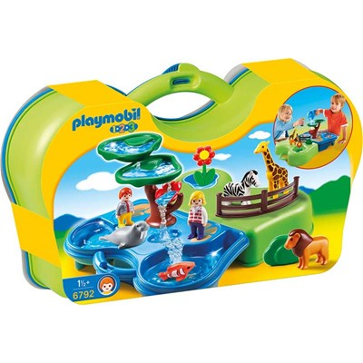 PLAYMOBIL 123 - Zoo transportable et bassins - multicolore