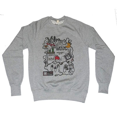 CHILLGREEN Sweat en coton Video Games - gris chine