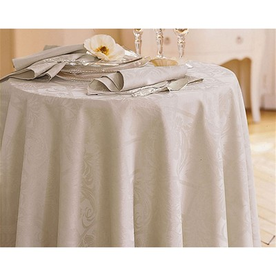 BECQUET Lot de 3 serviettes de table damassées en polyester - blanc lin