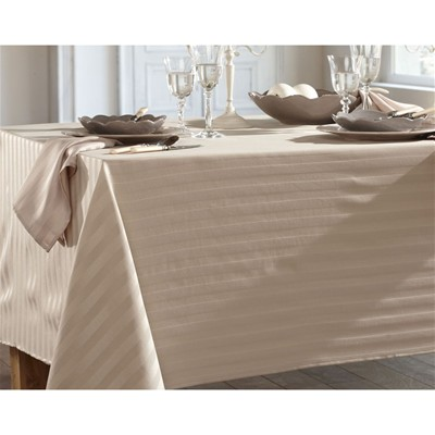 BECQUET Lot de 3 serviettes de table satin rayé - blanc lin