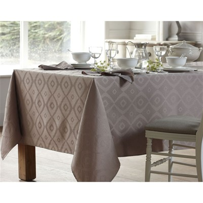BECQUET Lot de 3 serviettes de table damasées motifs losanges - marron beige