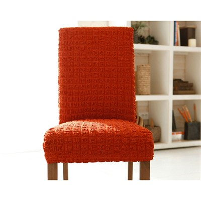 BECQUET Housse de chaise bi-extensible - orange terracota
