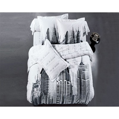 BECQUET Taie d'oreiller ou traversin buildings de new york - blanc