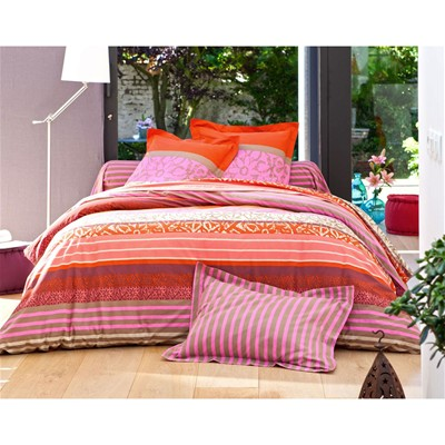BECQUET Taie d'oreiller ou traversin orange et rose - fuchsia
