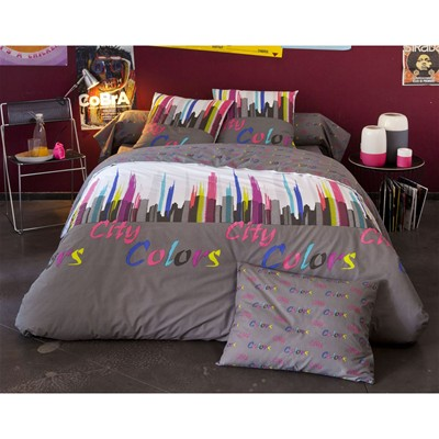 BECQUET Housse de couette city colors - multicolore